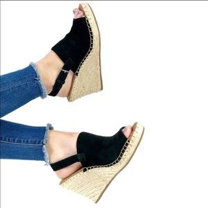 TOMS MONICA Suede Black Wedges